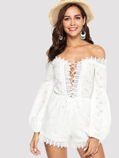 Lace Insert Bishop Sleeve Eyelet Embroidered Romper