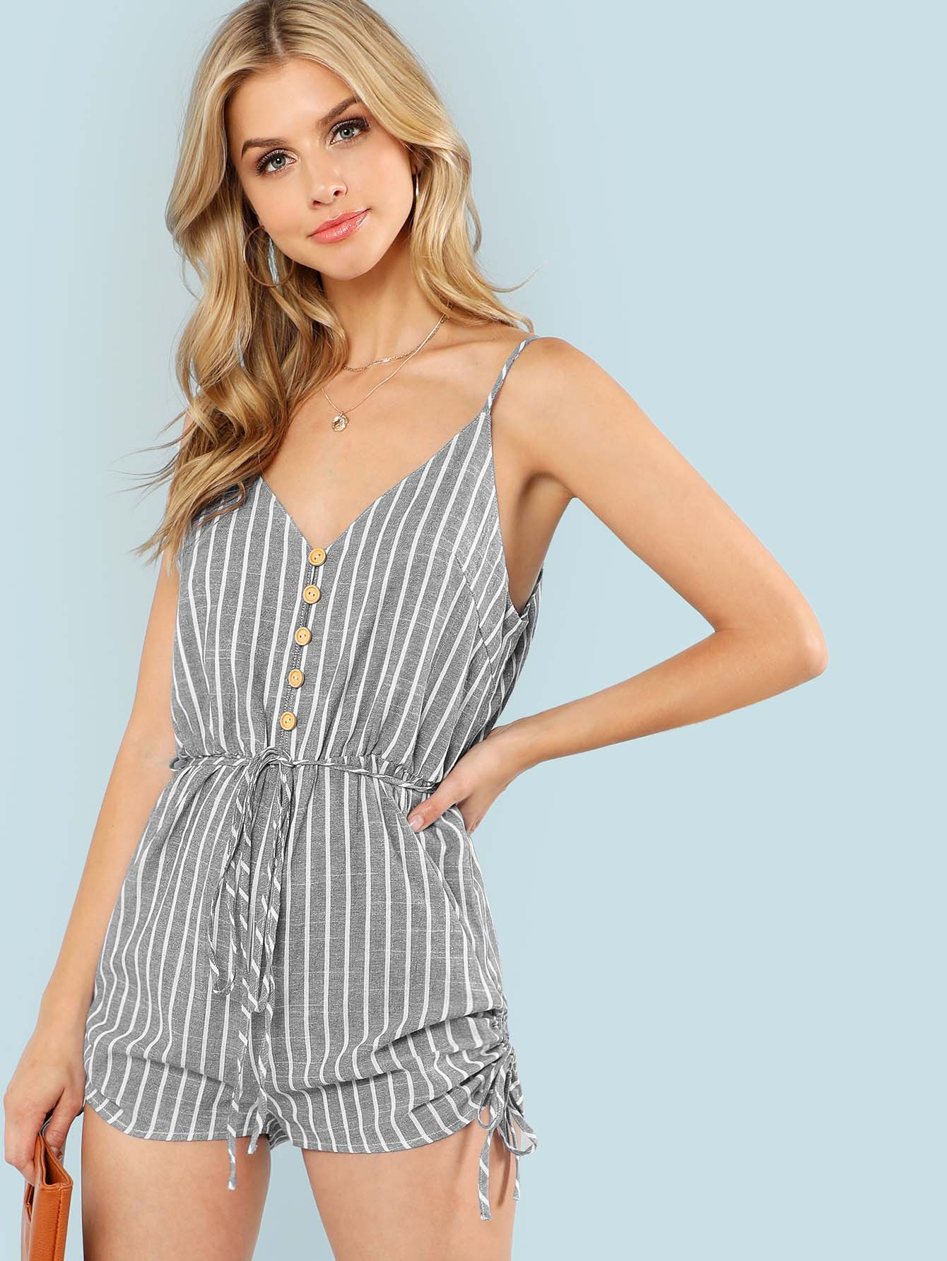 Button Up Drawstring Detail Striped Cami Romper button decoration cami with drawstring shorts