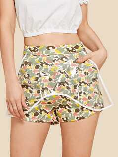 Camo Print Shorts with Transparent Cover