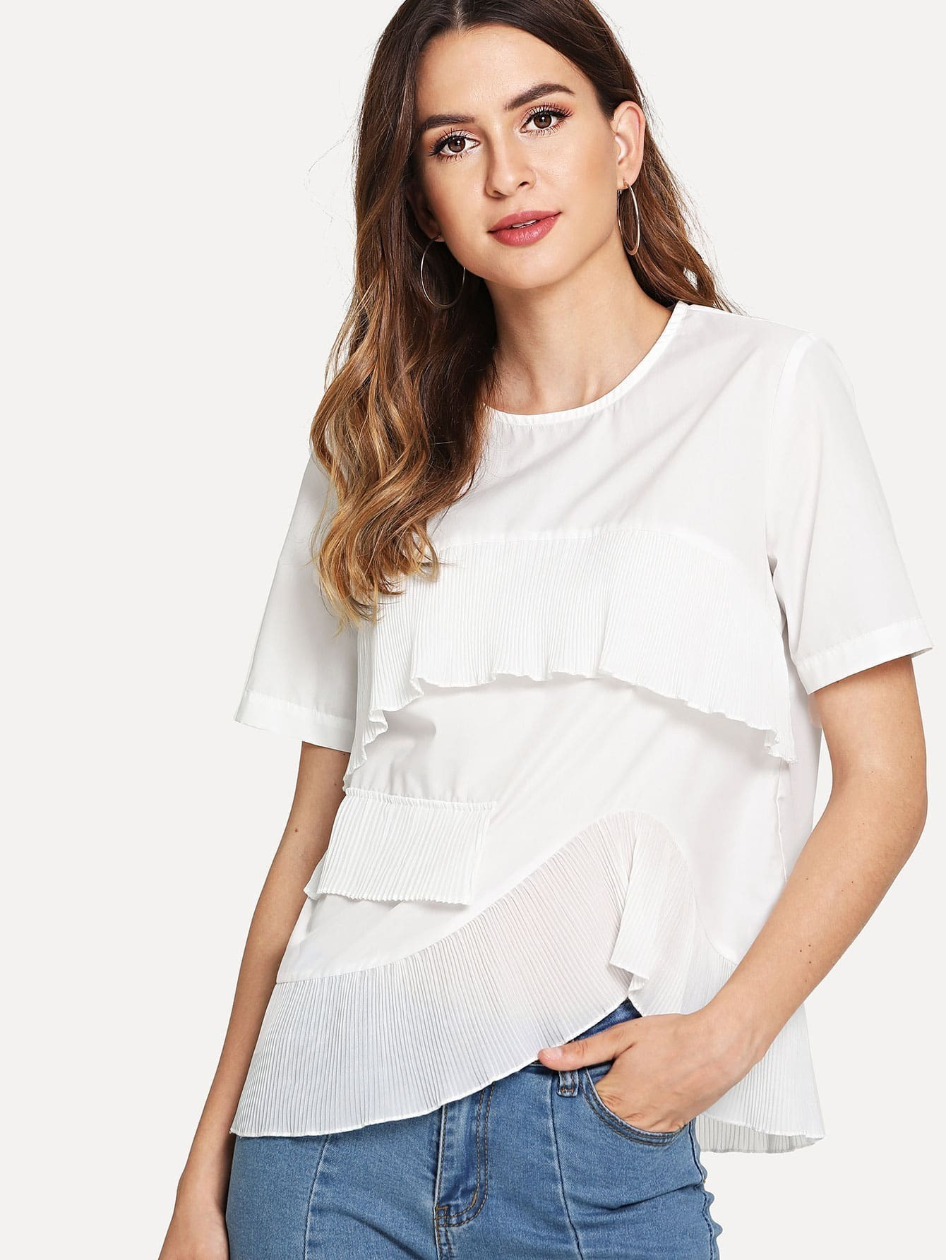 Asymmetrical Ruffle Trim T-shirt asymmetrical ruffle trim t shirt