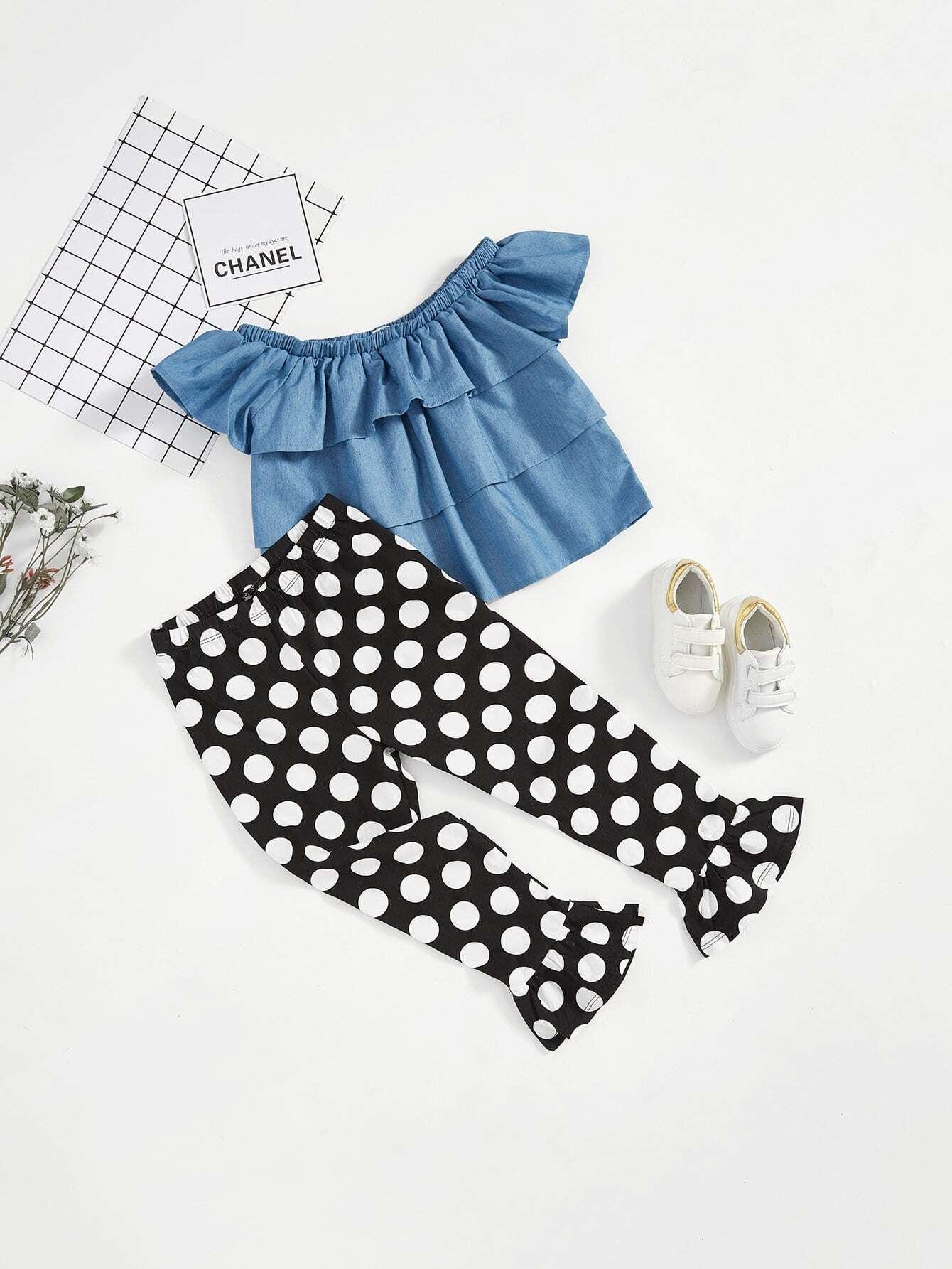 Фото Girls Layered Ruffle Top & Polka Dot Pants Set
