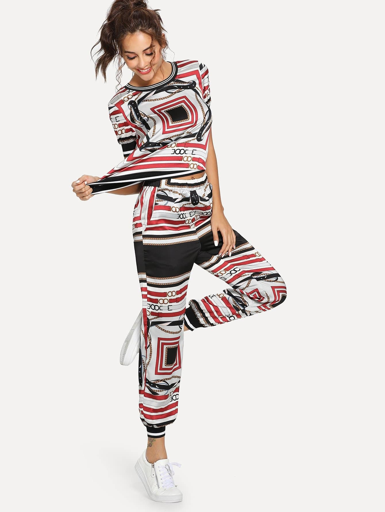 Graphic Print Top and Pocket Side Pants Set love graphic tank top and pants twinset