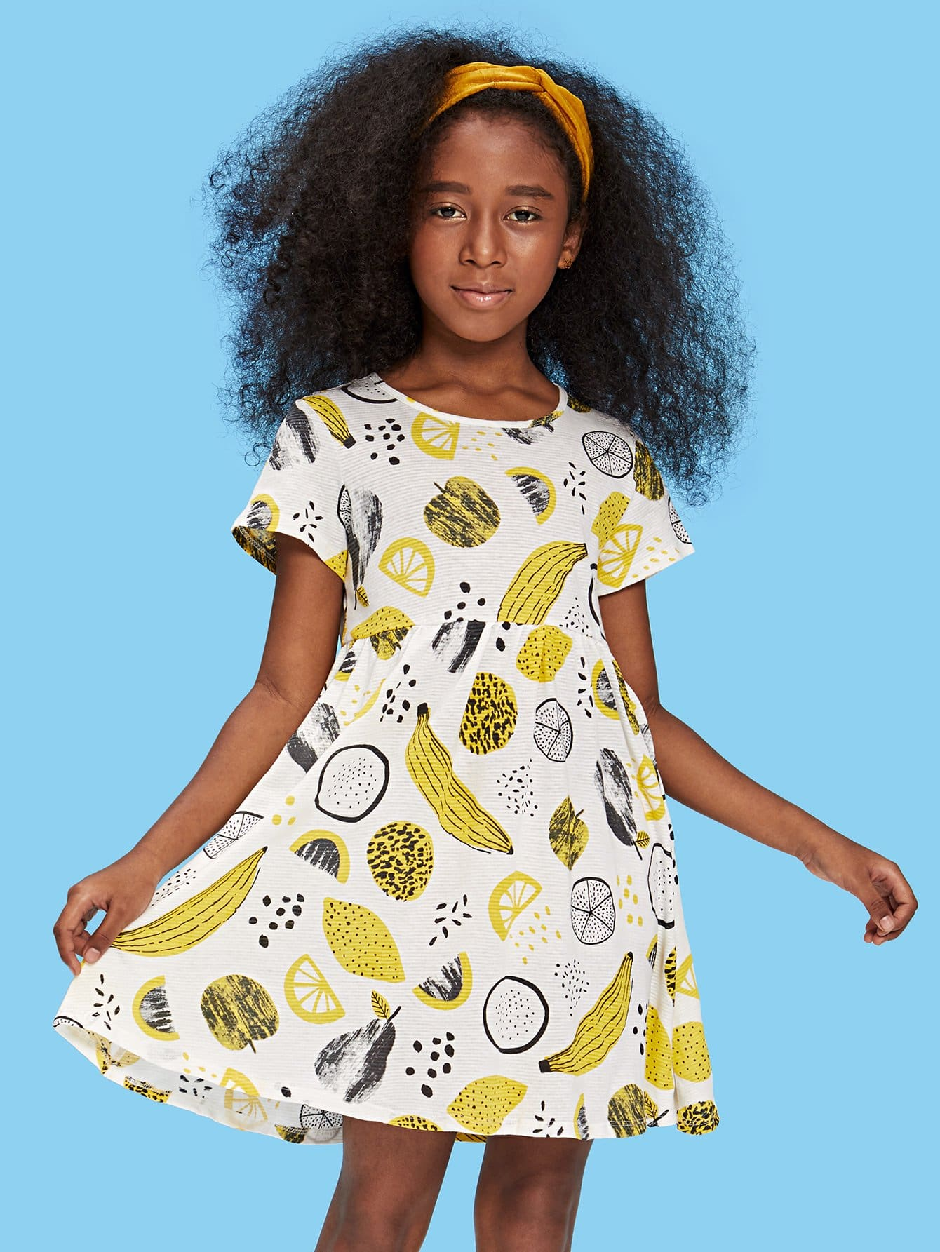 Allover Fruit Print Fit & Flare Dress allover fruit print tee