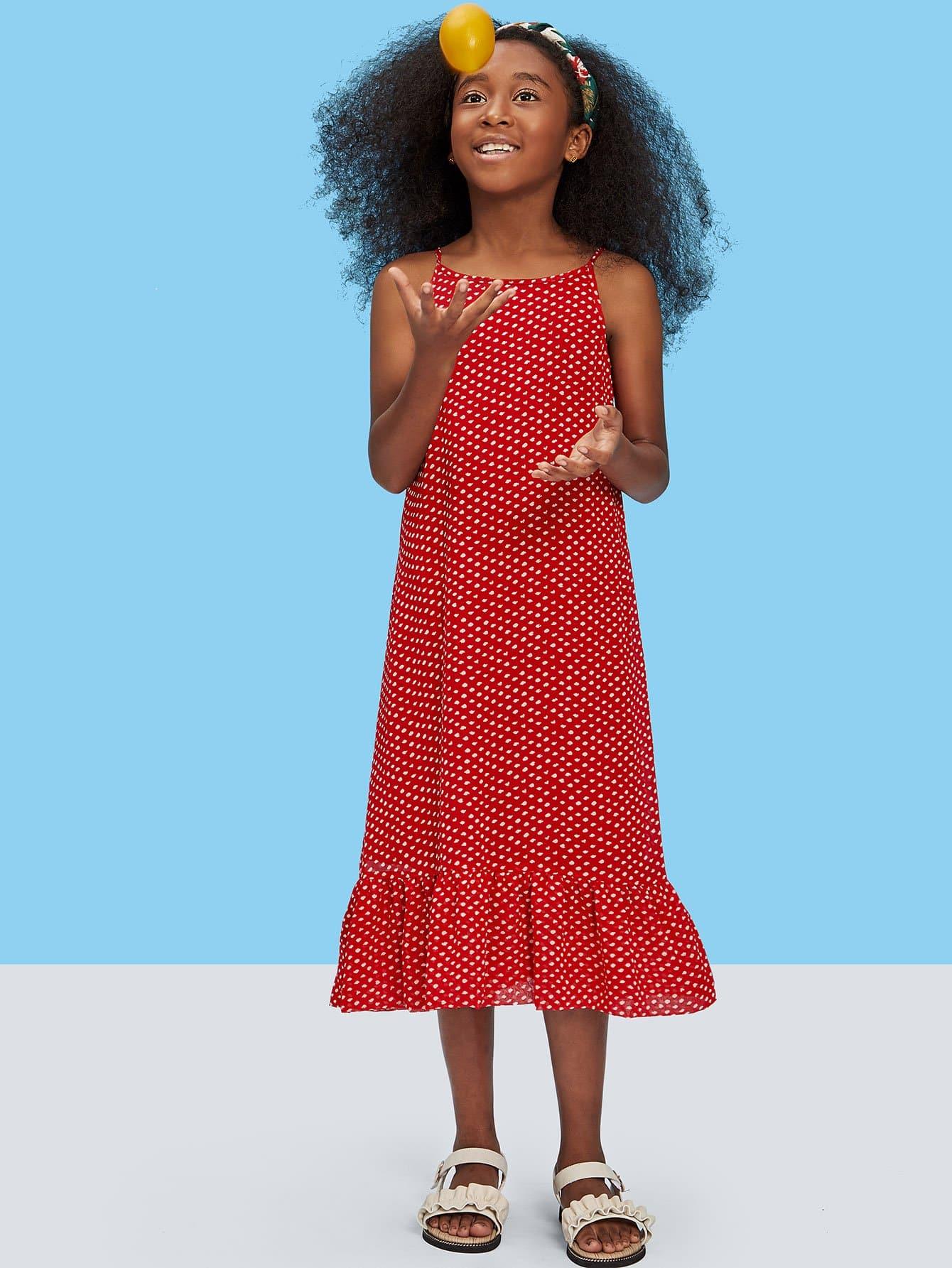Girls Knotted Cutout Back Ruffle Polka Dot Cami Dress layered ruffle polka dot cami dress