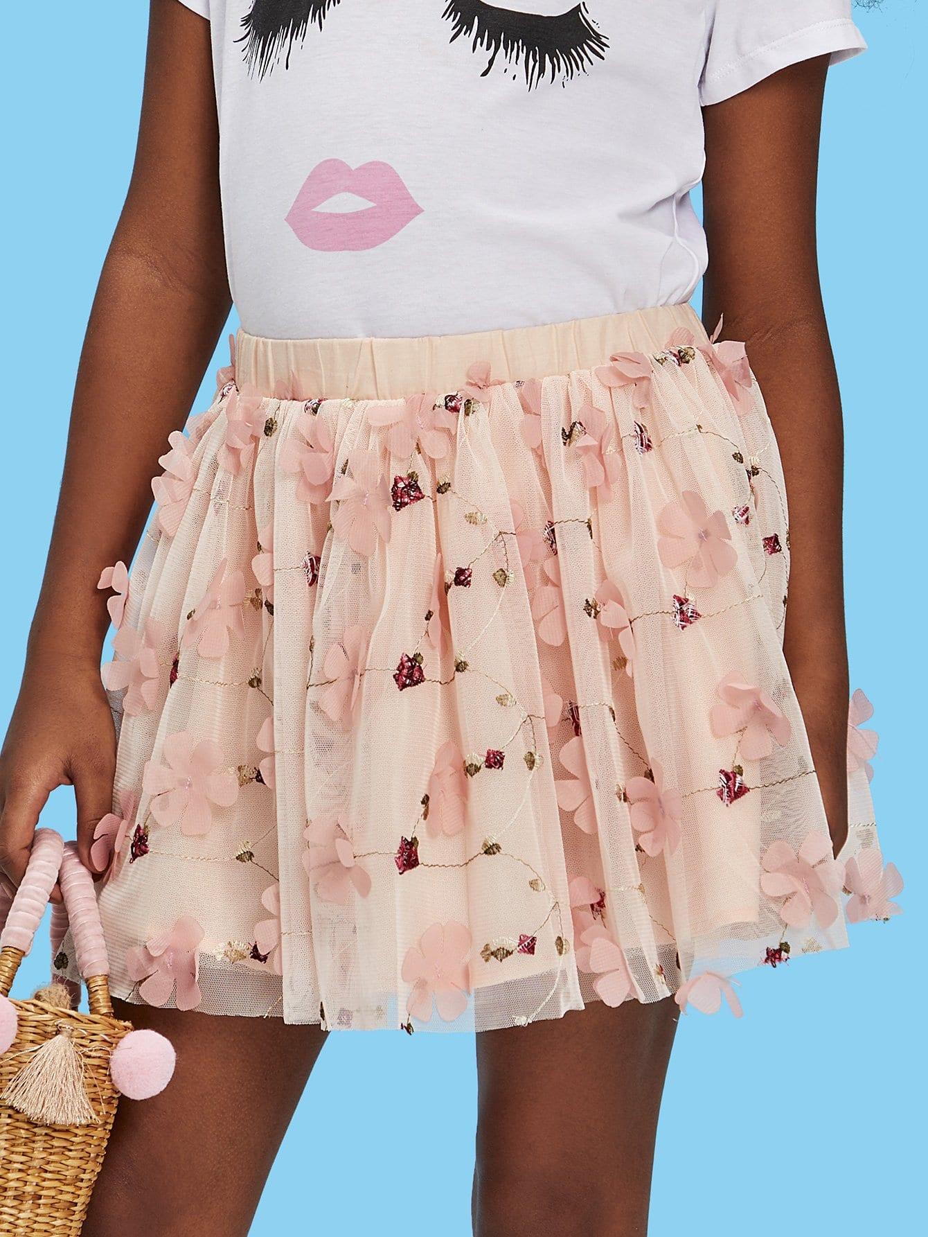 Купить Прозрачная юбка с вышивкой и аппликация цветы, null, SheIn