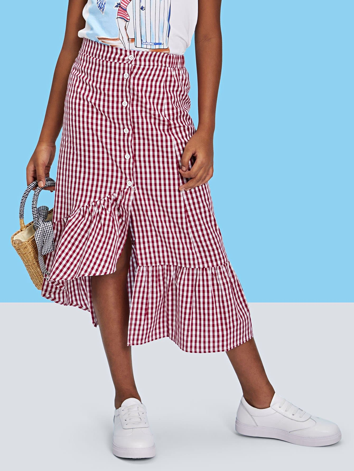 Button Front Asymmetric Ruffle Gingham Skirt ruffle waist zip back scallop hem embroidered gingham skirt