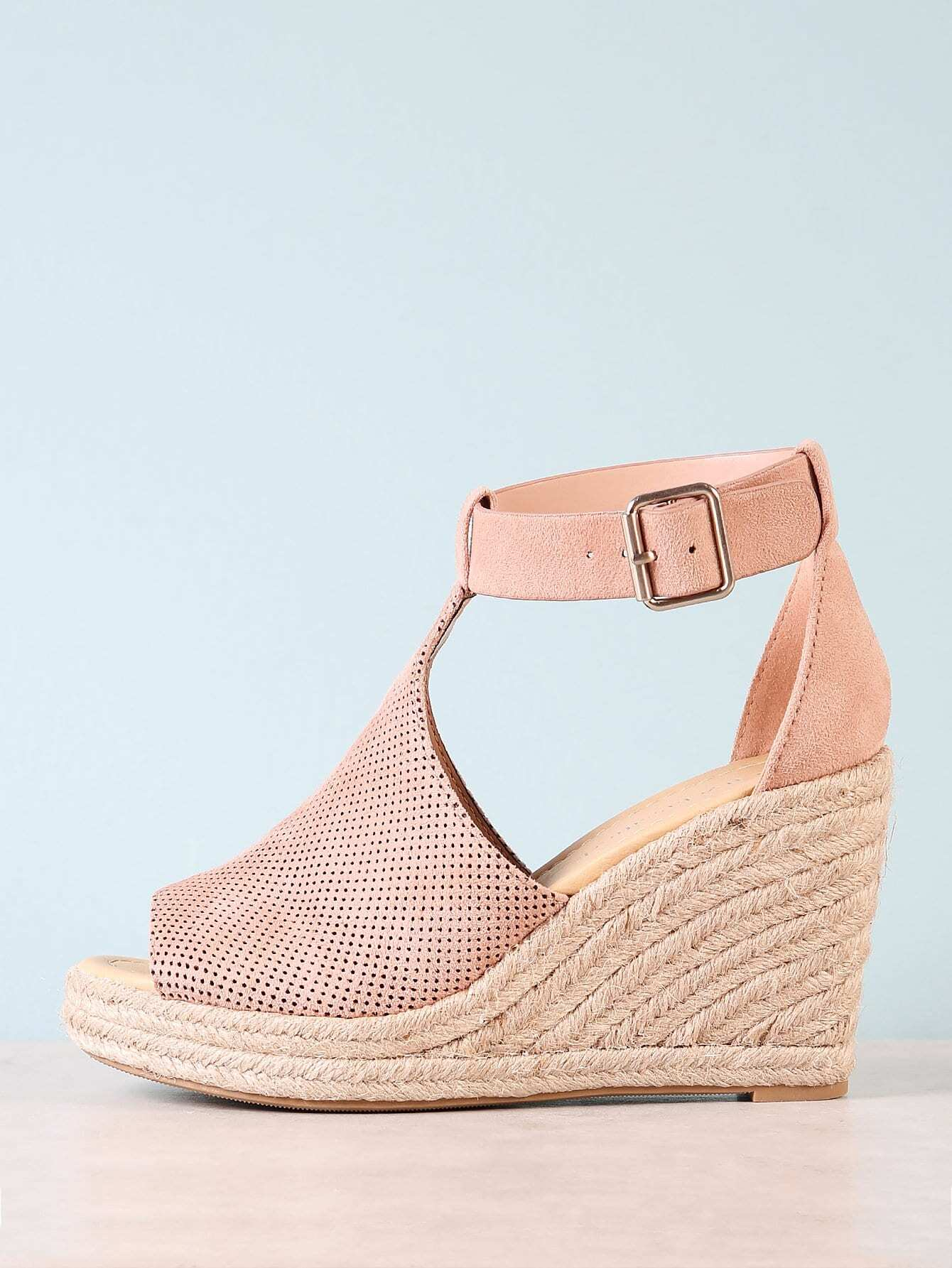 a71eb4d5c6c Perforated Peep Toe Espadrille Platform Wedge Sandal | MakeMeChic.COM