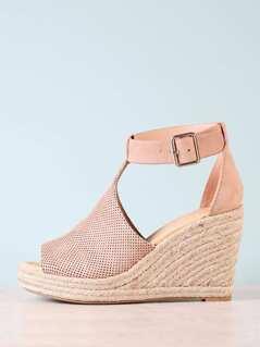 Perforated Peep Toe Espadrille Platform Wedge Sandal