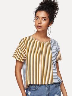 Drop Shoulder Mixed Stripe Top