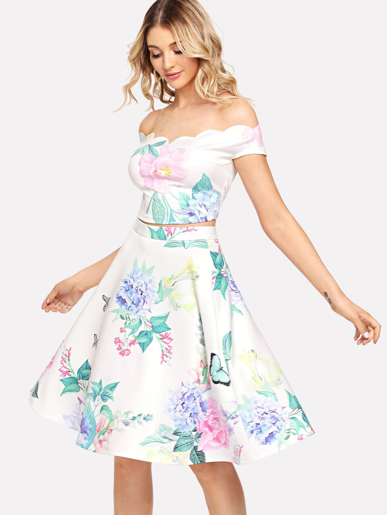 Scallop Neck Floral Bardot Top & Skirt Set dakota smith солнцезащитные очки dakota smith