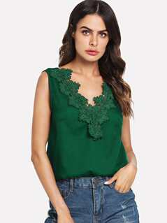 Lace Applique Sleeveless Top