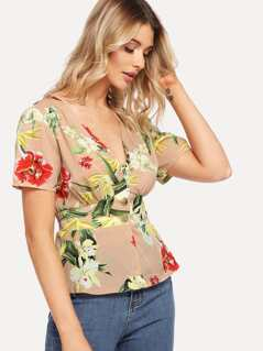Flower Print Button Front Fitted Top