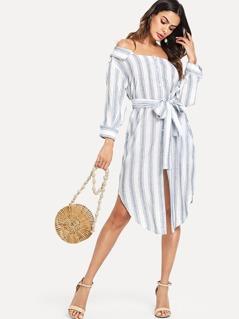 Belted Striped Dress