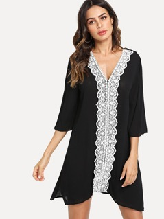 Lace Applique Pom Pom Sleeve Dress