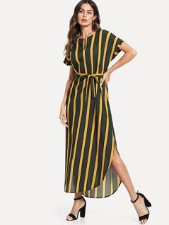 Batwing Sleeve Striped Tunic Dress