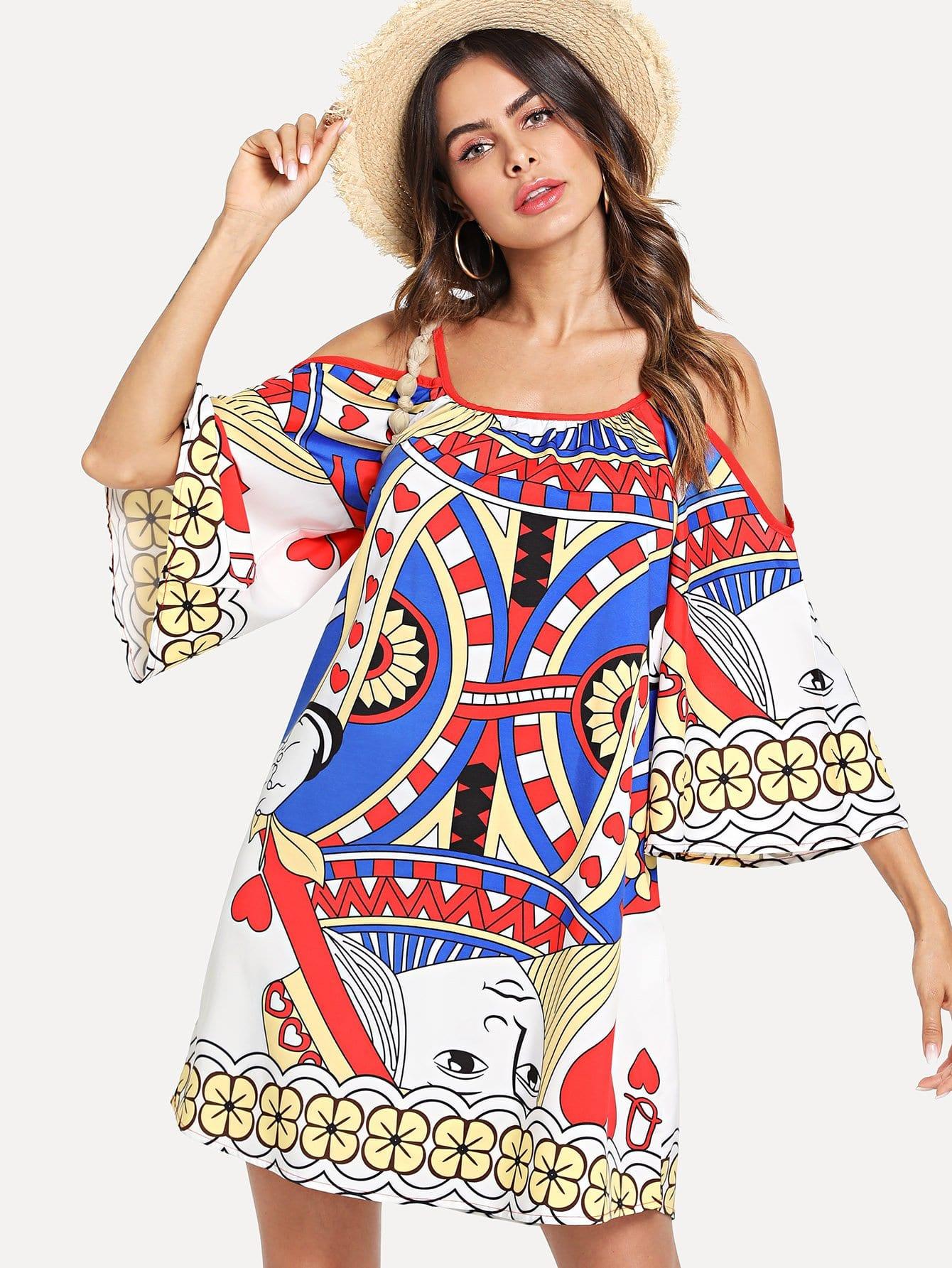 Купить Платье с рукавами кимоно с принтом покер, Andy, SheIn