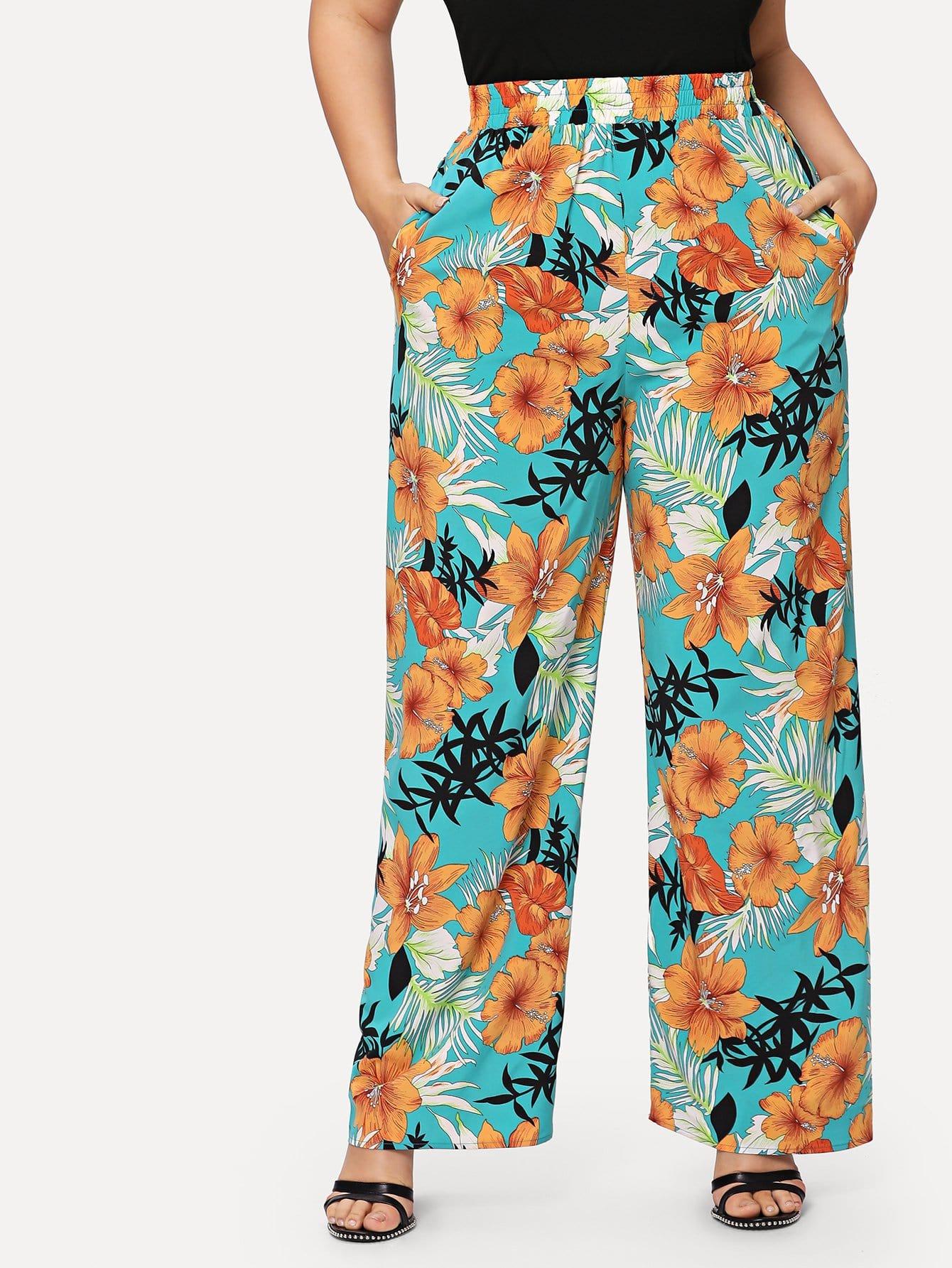 Tropical Print Wide Leg Pants tropical print palazzo leg pants