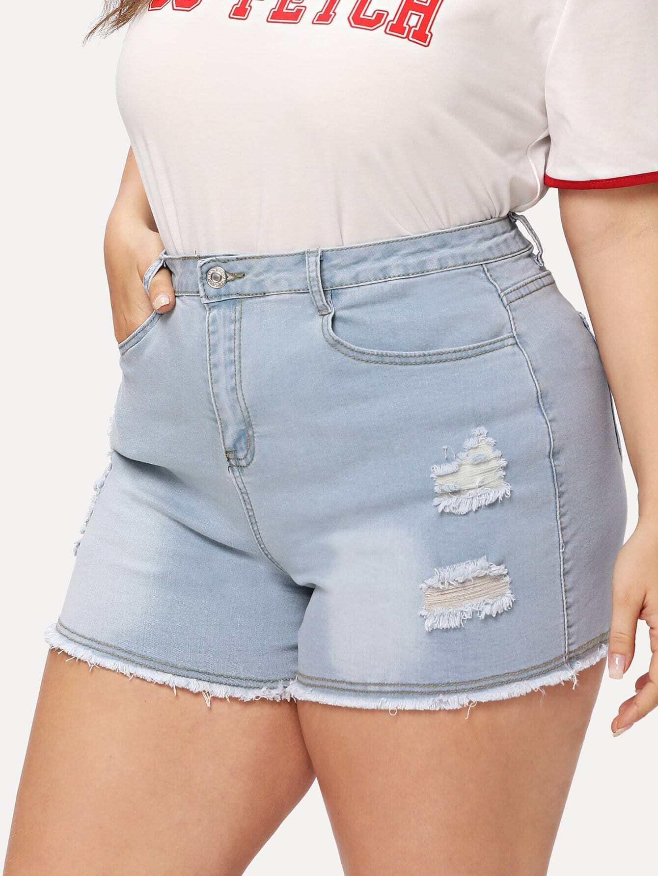 Bleach Wash Raw Hem Ripped Denim Shorts stylish women s lace embellised bleach wash denim shorts