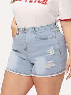 Bleach Wash Raw Hem Ripped Denim Shorts