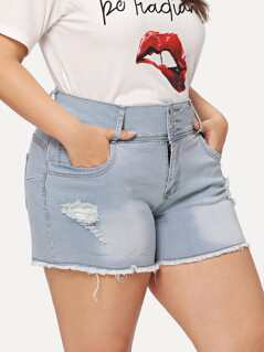 Plus Bleach Wash Raw Hem Ripped Denim Shorts