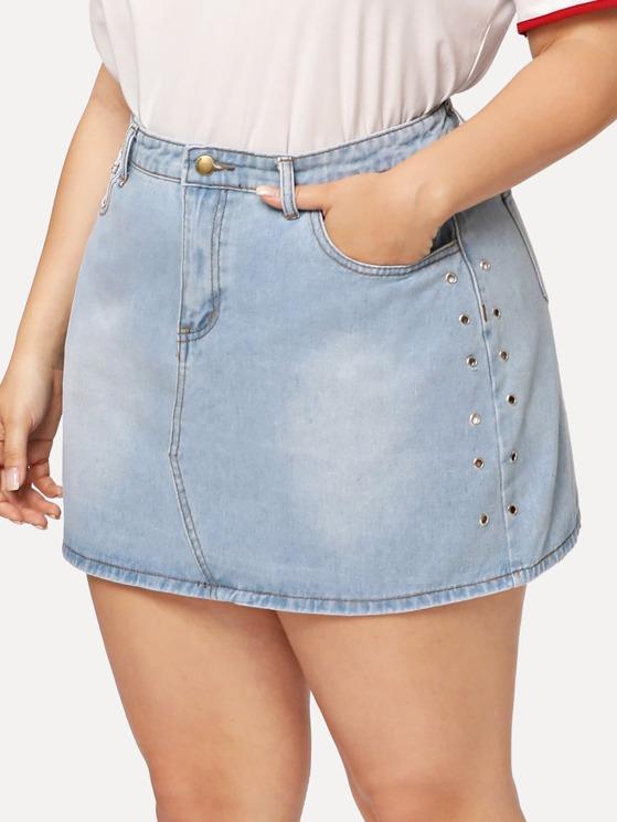 6204998edb9 Plus Grommet Detail Denim Skirt