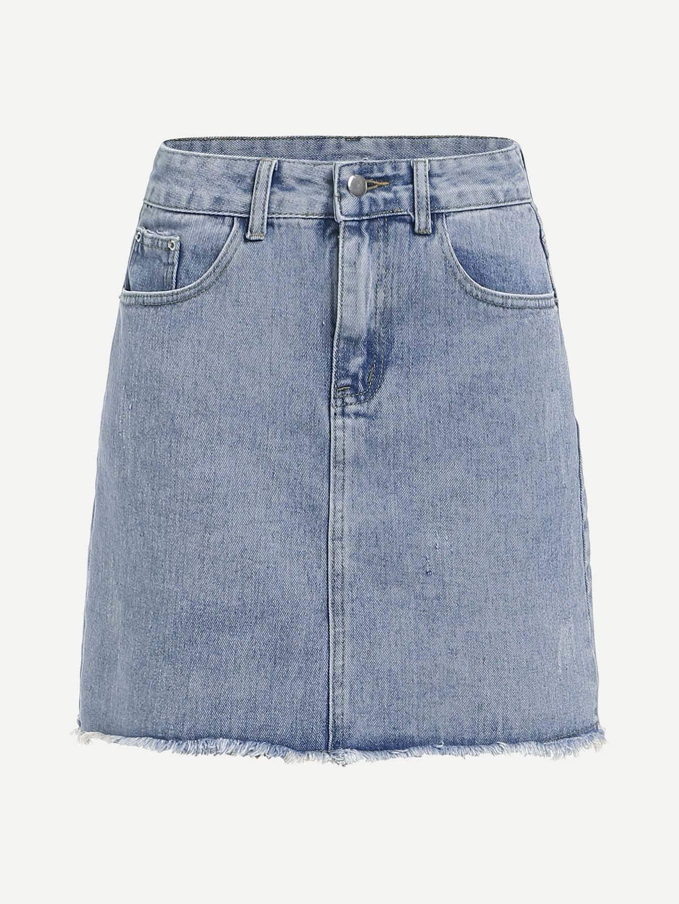 Bleach Wash Raw Hem Denim Skirt girls single breasted raw hem skirt