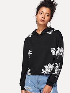 Drop Shoulder Flower Print Hoodie