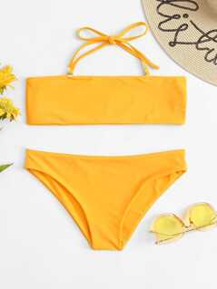 Halter Top With Low Rise Bikini Set