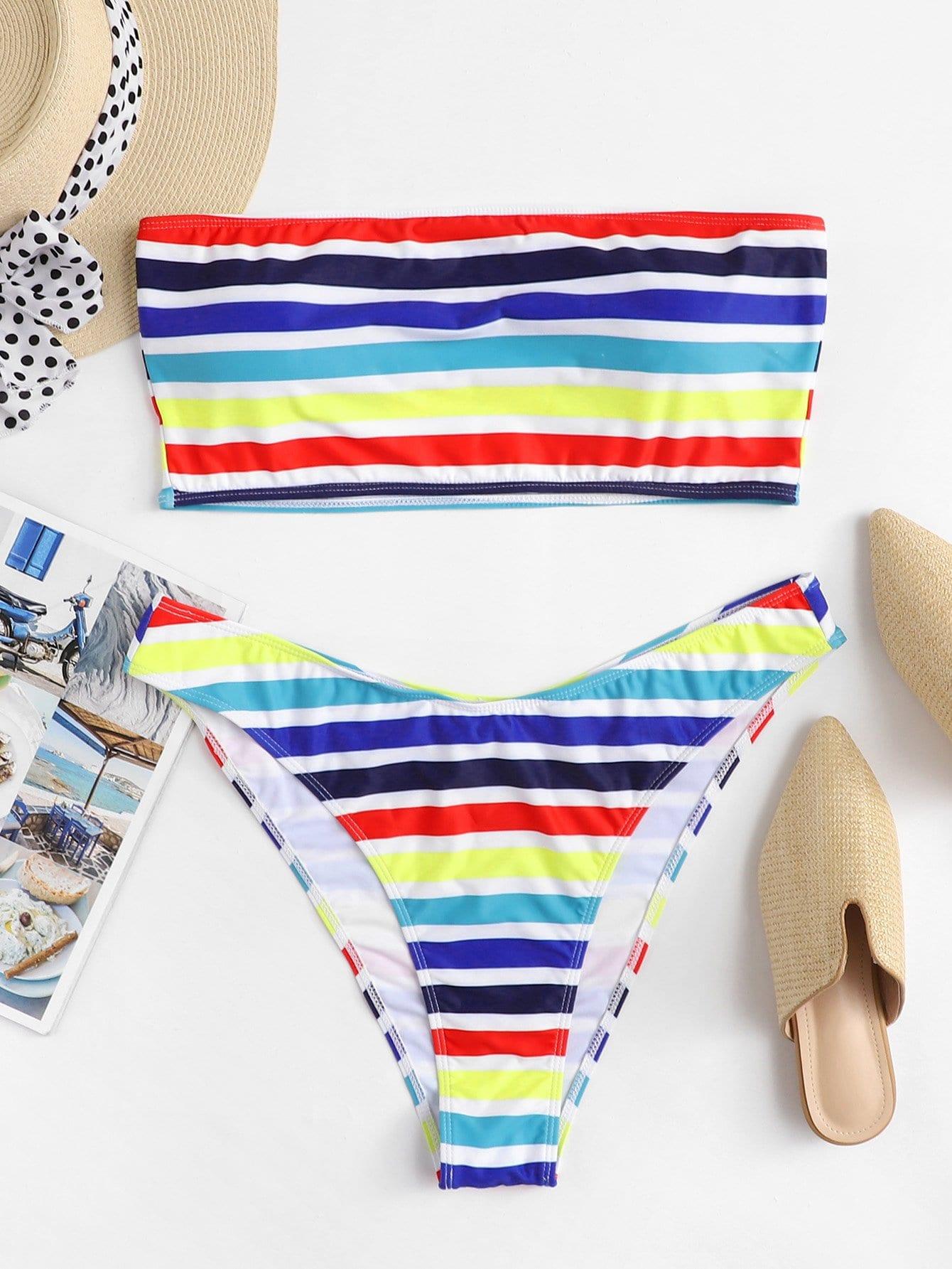 Striped Bandeau Bikini Set embroidery bandeau bikini set