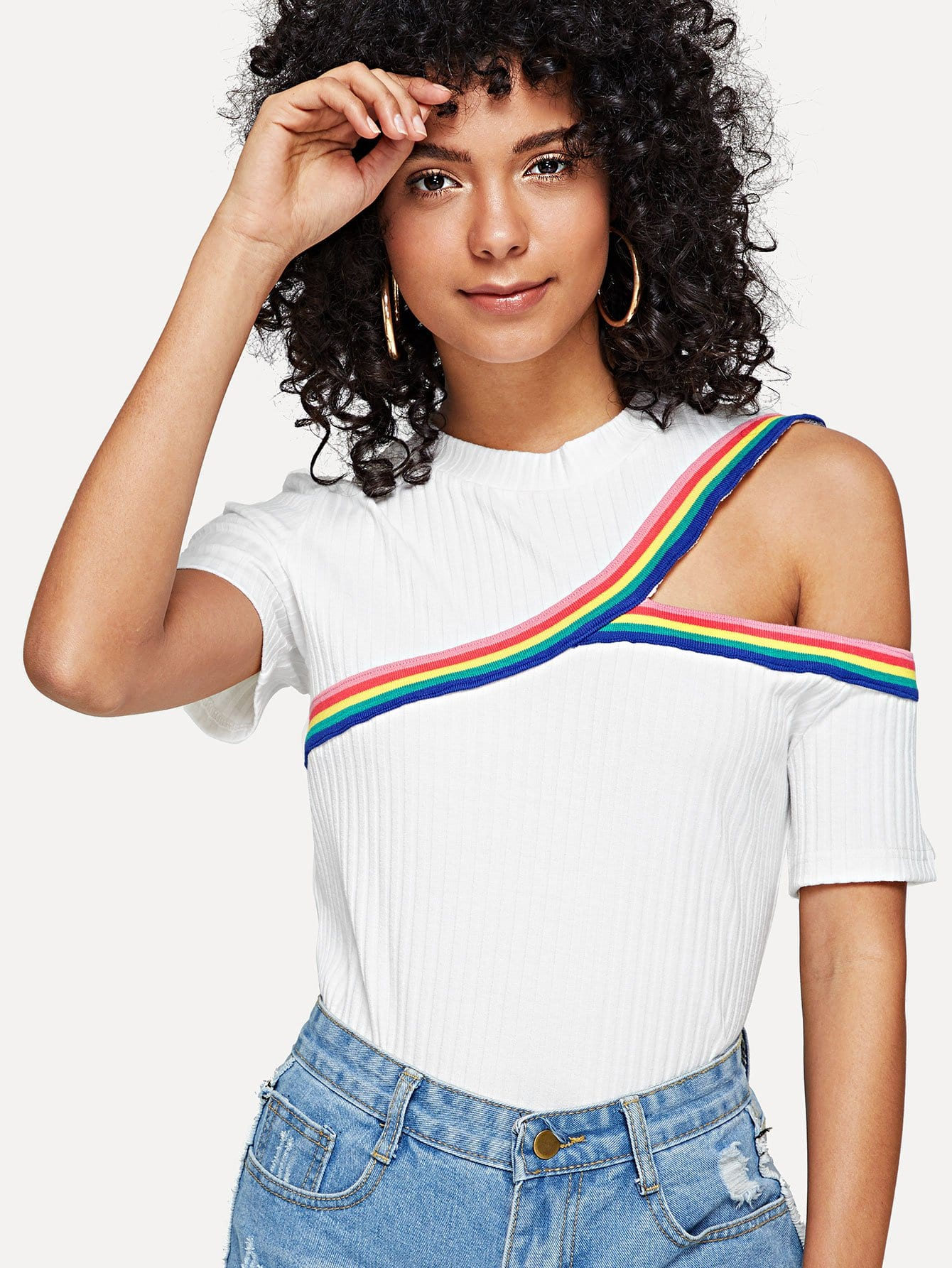 Striped Tape Detail Cutout Ribbed Tee lettering tape cutout ribbed tee