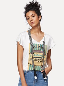 Embroidered Tape Tie Neck Cutout Graphic Tee