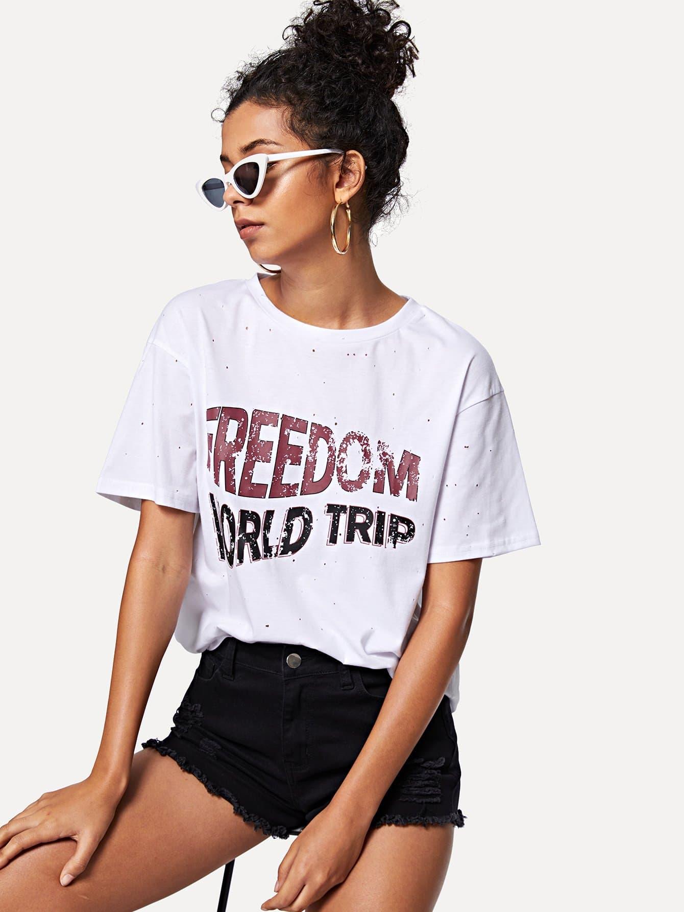 Купить Печатная футболка с тиснением, Starl Lane, SheIn