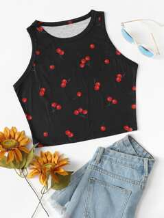 Allover Cherry Print Tank Top