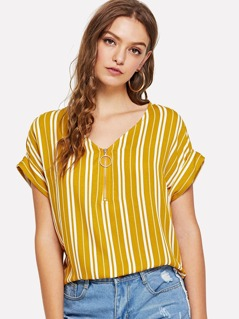 O-Ring Zip Up Batwing Sleeve Striped Top