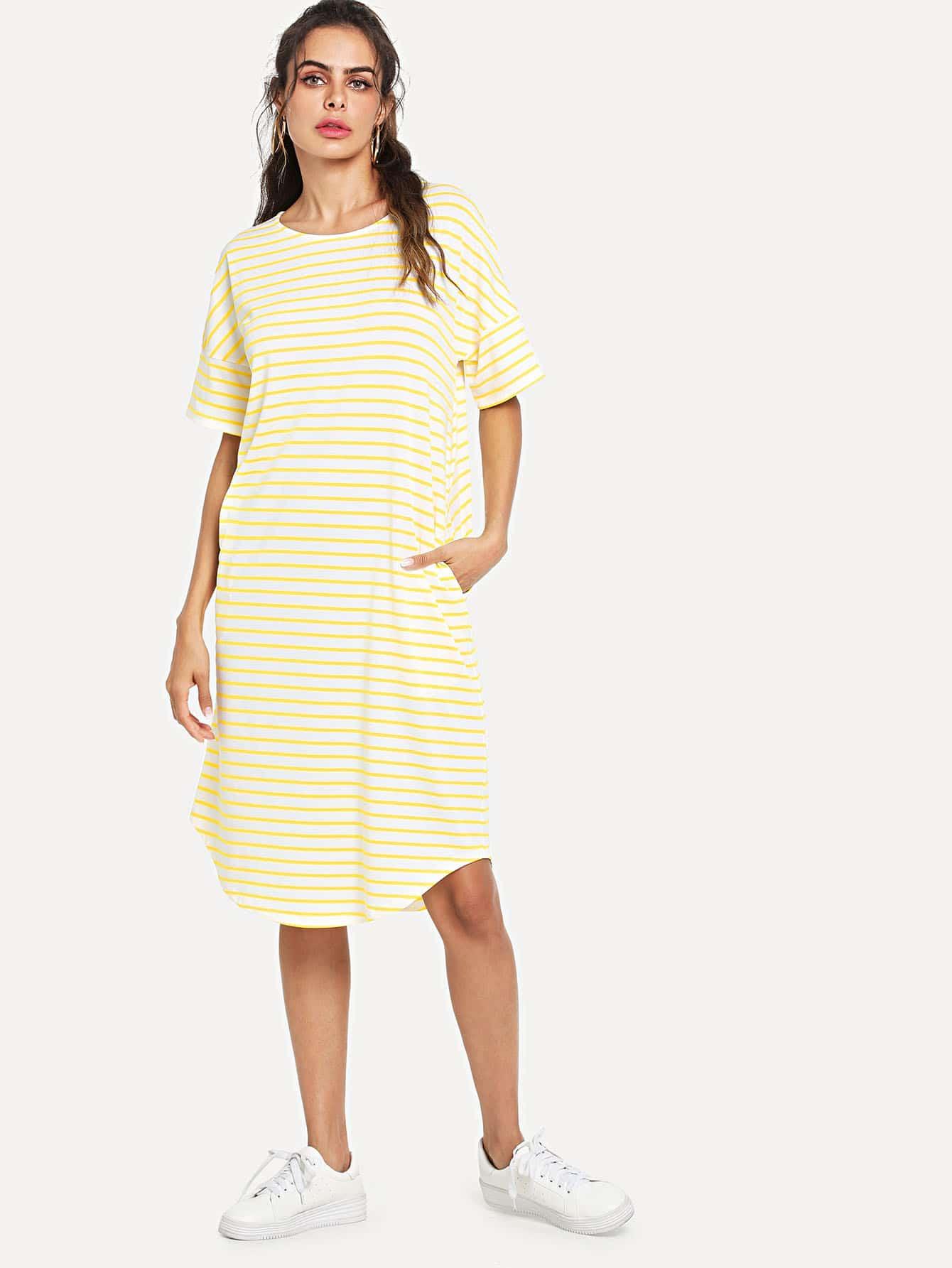 Drop Shoulder Pocket Side Striped Curved Hem Dress pocket front curved hem wrap trench dress
