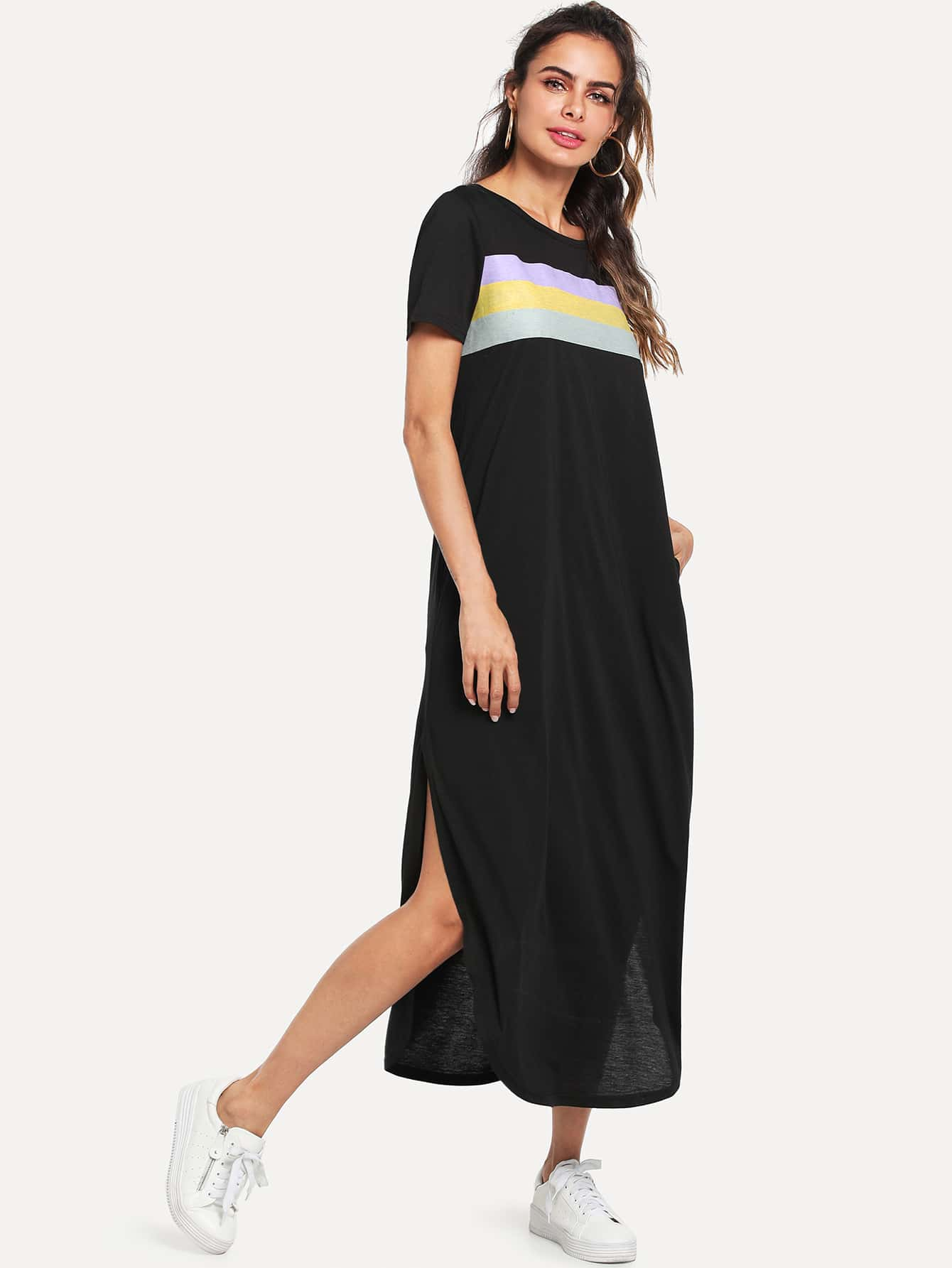 Color Block Split Curved Hem Dress batwing sleeve pocket side curved hem textured dress