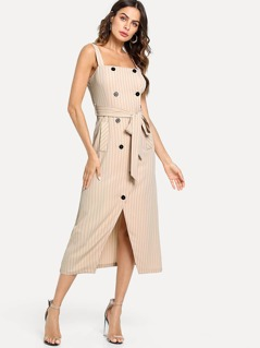 Button Accent Overlap Split Front Belted Dress