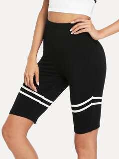 Contrast Striped Trim Short Leggings