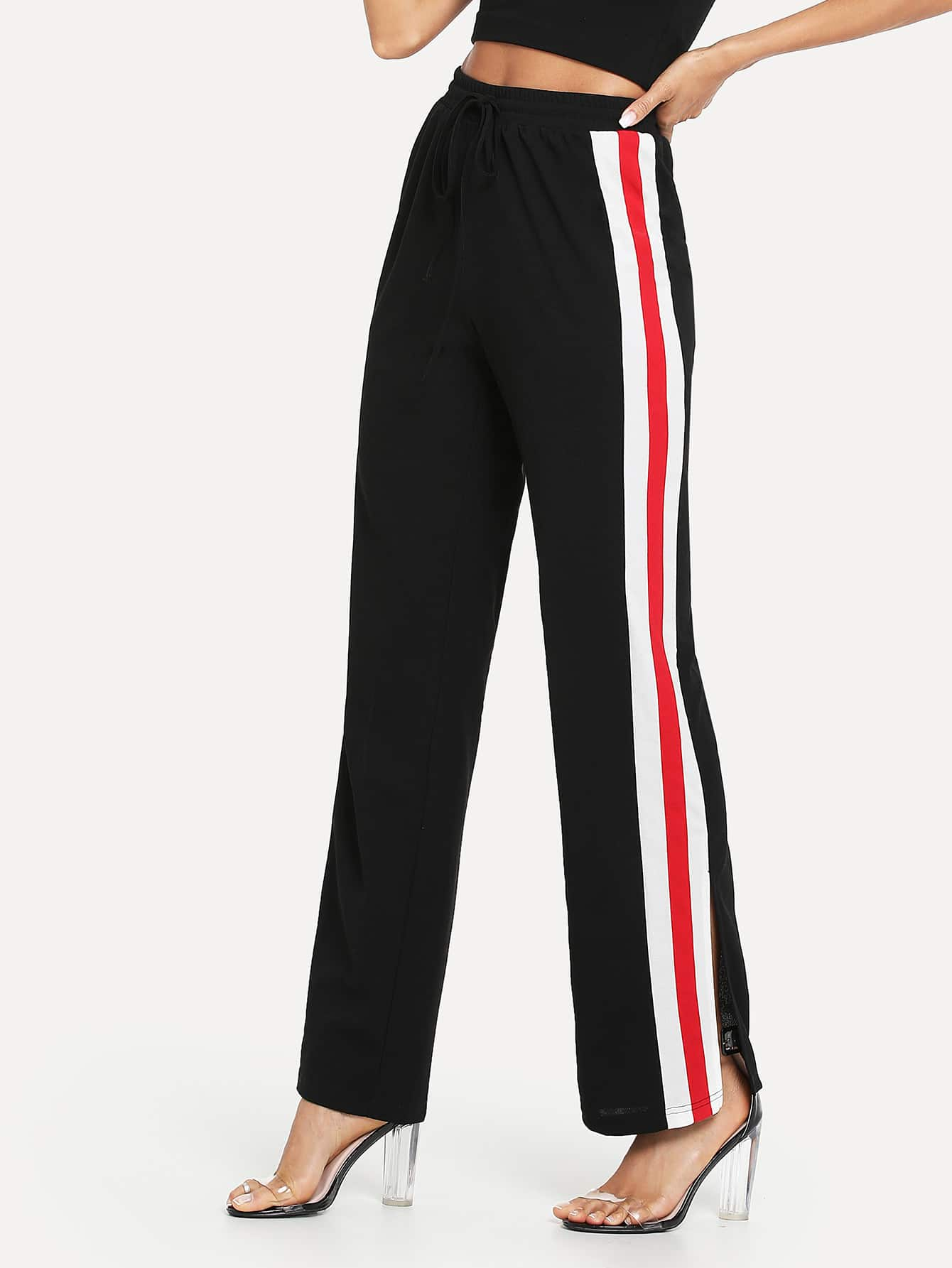 Contrast Tape Slit Side Palazzo Pants фен first fa 5666 3 red