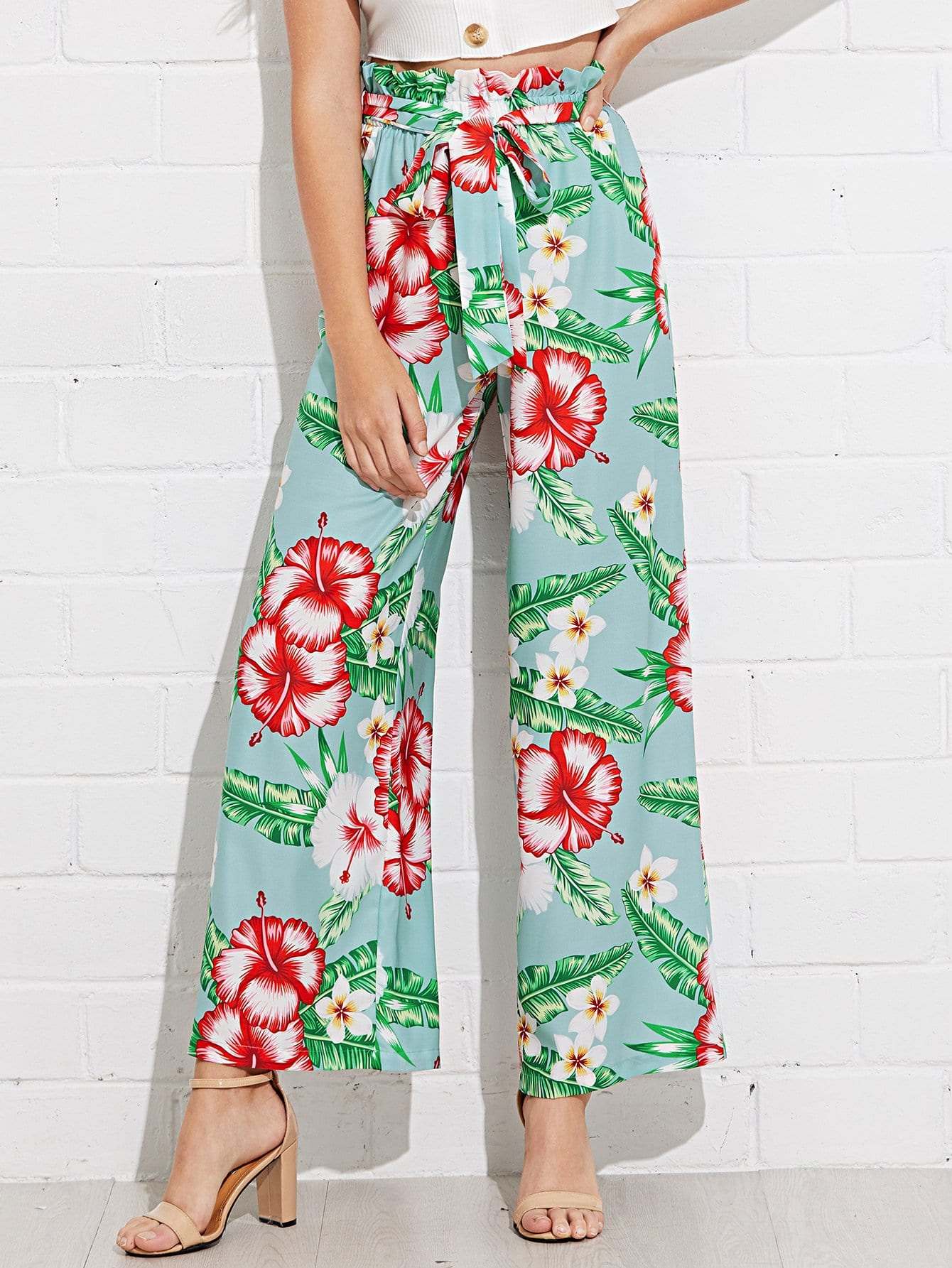 Frill Trim Tropical Print Belted Palazzo Pants self belted skirt palazzo pants