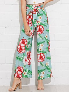 Frill Trim Tropical Print Belted Palazzo Pants