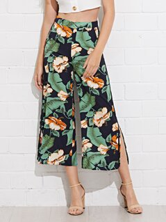 Slant Pocket Slit Hem Tropical Palazzo Pants
