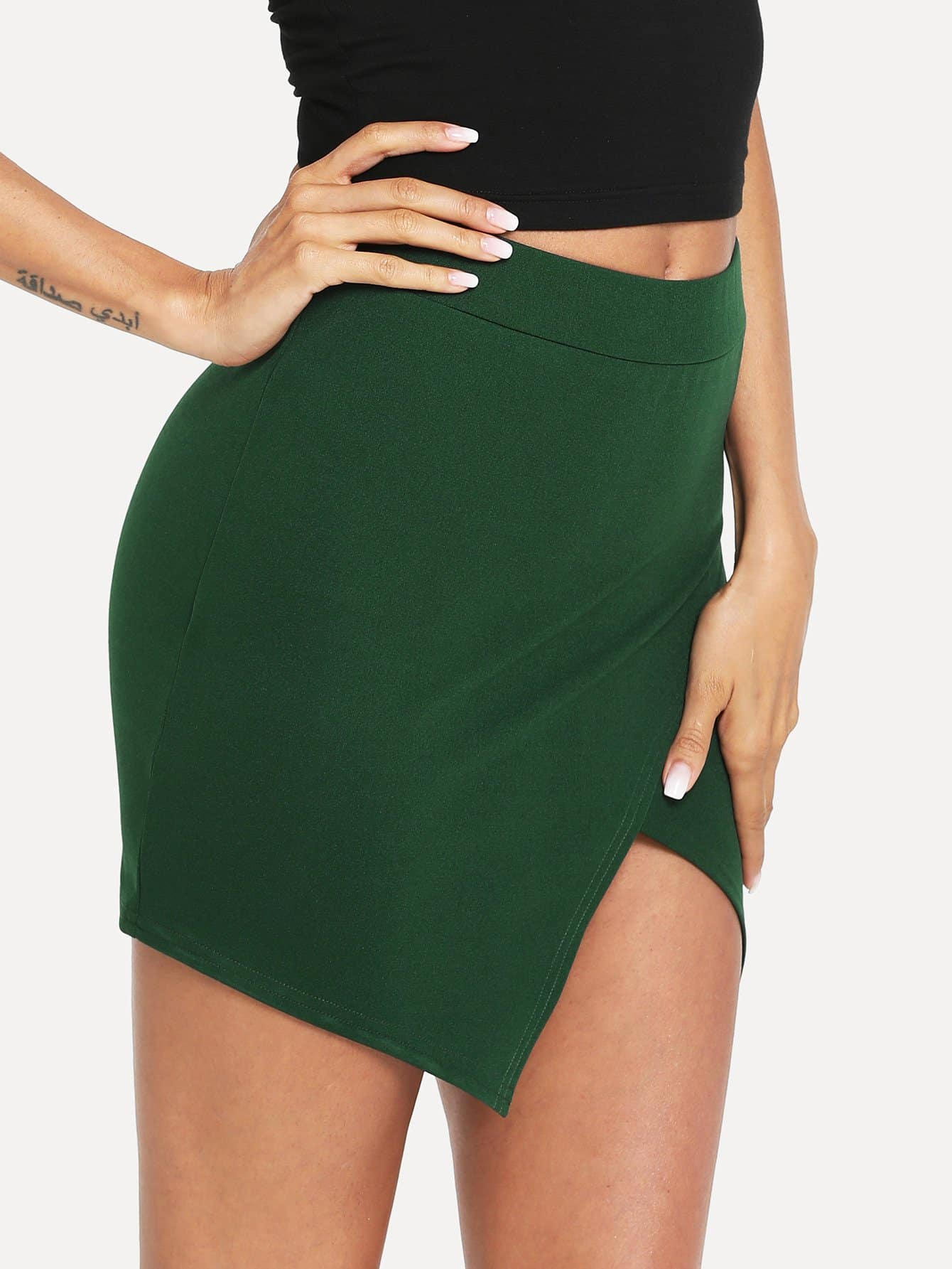 Overlap Split Front Skirt tribal print split front skirt