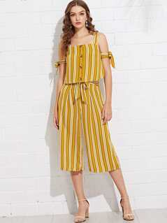 Button Up Knot Detail Striped Top and Palazzo Pants Set