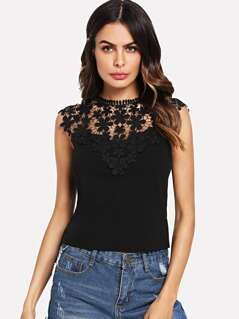 Guipure Lace Yoke Keyhole Back Top
