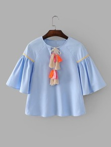Embroidered Tape Detail Tassel Tie Blouse
