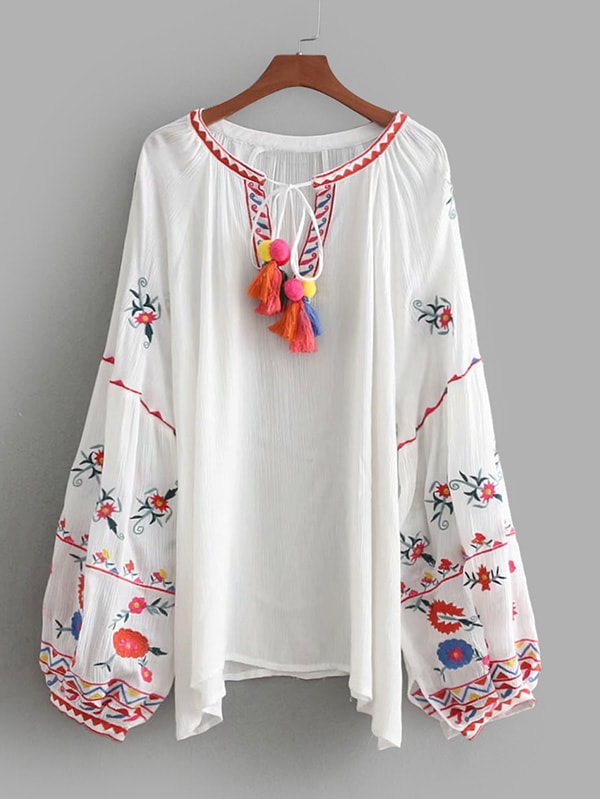 Tassel Tie Embroidered Bishop Sleeve Blouse tassel tie striped blouse