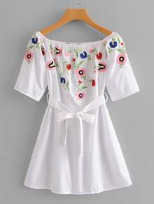 Self Tie Embroidery Dress