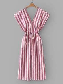 Contrast Stripe Drawstring Waist Dress