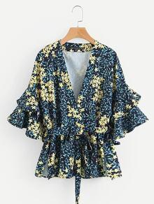 Calico Print Tiered Ruffle Sleeve Kimono